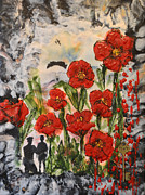 Officer Mixed Media Prints - Lest we Forget Print by Sally Clark