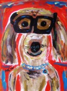 Blue Collar Drawings Prints - Lester in Glasses Print by Mary Carol Williams