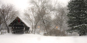 Covered Bridge Art Prints - Let it Snow Print by Andrew Soundarajan
