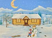 Log Cabin Art Paintings - Let It Snow by Virginia Ann Hemingson