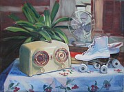 Old Skates Painting Posters - Let the Good Times Roll Poster by Judy Johnson