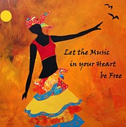 African Dance Mixed Media Posters - Let the Music in your Heart be Free Poster by Charleen Martin