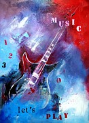 Play Mixed Media Prints - Let the music play Print by Elise Palmigiani