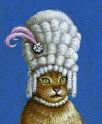 Cats Prints - Let Them Eat Cake ... humorous Marie Antoinette cat art Print by Amy Giacomelli
