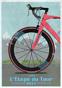 Fixed Gear Posters - LEtape du Tour Bike Poster by Andy Scullion
