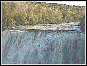 Fall  Of River Digital Art - Letchworth Middle Falls Contour Effect by Rose Santuci-Sofranko
