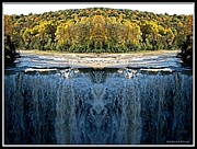 Fall  Of River Digital Art - Letchworth Middle Falls Mirrored by Rose Santuci-Sofranko