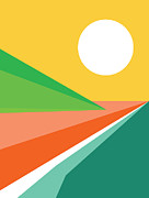 Abstract Geometric Art Prints - Lets all go to the beach Print by Budi Satria Kwan