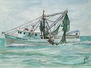 Shrimp Boat Paintings - Lets Find Some Shrimp by Jim Phillips