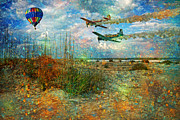 Hot Air Balloon Digital Art Prints - Lets Fly Print by East Coast Barrier Islands Betsy A Cutler