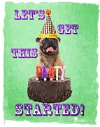 Dog Greeting Card Framed Prints - Lets Get This Party Started Framed Print by Edward Fielding