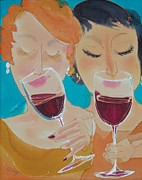 Women Sniffing Wine Posters - Lets Get Together Poster by Jill Targer