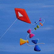 Ribbon Painting Posters - Lets Go Fly A Kite Poster by Cindy Thornton