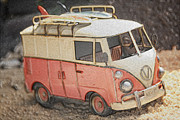 Vw Camper Van Prints - Lets Go Surfin Print by Cheryl Young