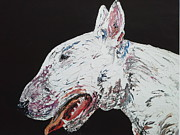 English Bull Terrier Posters - Lets Play Poster by Janette Ireland