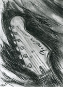 Fender Strat Drawings Prints - Lets Play The Blues Print by Roz Barron Abellera