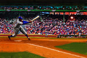  Baseball Art Mixed Media - Lets Play Two by Alan Greene