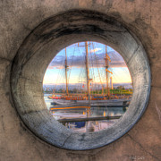Wooden Ship Prints - Lets Pretend Its A Porthole Print by Heidi Smith