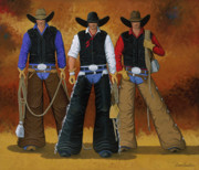 Contemporary Cowgirl Paintings - Lets Ride by Lance Headlee
