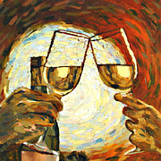 Wine Glasses Paintings - Lets Toast by Donna Schaffer
