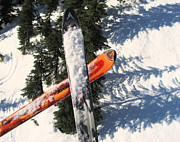 Snow Scenes Metal Prints - Lets Toast Our Skis Together Metal Print by Kym Backland