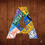 Recycle Prints - Letter A Alphabet Vintage License Plate Art Print by Design Turnpike