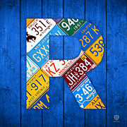 North Dakota Prints - Letter R Alphabet Vintage License Plate Art Print by Design Turnpike