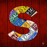 Texas Mixed Media Prints - Letter S Alphabet Vintage License Plate Art Print by Design Turnpike