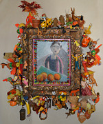 Oranges Drawings - Levitating Oranges Of Borneo In Mink - Framed by Nancy Mauerman
