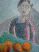 Oranges Drawings - Levitating Oranges Of Borneo In Mink by Nancy Mauerman