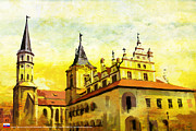 Historic Statue Painting Prints - Levoca Spissky Hrad and the Associated Cultural Monuments Print by Catf