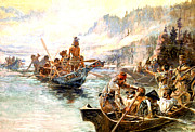 Canoes Digital Art - Lewis and Clark on the Lower Columbia  by Charles Russell