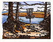 Lino Cut Print Framed Prints - Lewisville Lake Hole Three Framed Print by Jason Reid