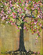 Artistic Mixed Media Posters - Lexicon Tree of Life 4 Poster by Blenda Tyvoll