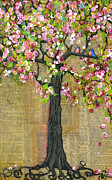 Tree Blossoms Paintings - Lexicon Tree of Life 4 Verison B by Blenda Studio
