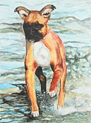 Boxer Painting Framed Prints - Leyla Framed Print by Jeanne Fischer