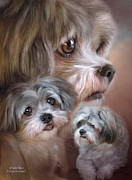 Canine Mixed Media Framed Prints - Lhasa Apso Framed Print by Carol Cavalaris