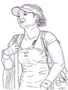 Steven White Drawings - Li Na Girl With The Rose Tattoo by Steven White