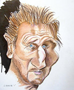 Celebrities Drawings Metal Prints - Liam Neeson Metal Print by Chris Benice