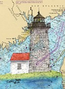 New England Lighthouse Paintings - Libby Island Lighthouse ME Nautical Chart Map Art by Cathy Peek