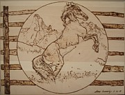Wooden Pyrography Posters - Liberated Horse Poster by Sean Connolly
