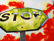 Stop Sign Painting Framed Prints - Liberating STOP sign Framed Print by Zuzana Vass