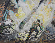 Fire Gear Paintings - Liberators Guardian Angles by Carey MacDonald