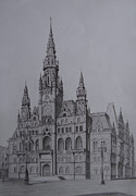 Old Town Drawings Framed Prints - Liberec Town Hall Framed Print by Arturas Patamsis