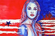 July 4th Paintings - Liberty American Girl by Anna Ruzsan
