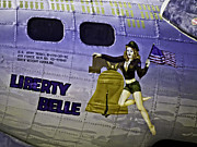 Ww Ii Framed Prints - LIBERTY BELLE B17 FLYING FORTRESS Nose Art v2 Framed Print by F Leblanc