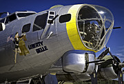 Ww Ii Framed Prints - LIBERTY BELLE B17 FLYING FORTRESS Nose Gun Framed Print by F Leblanc