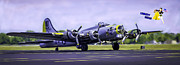 Ww Ii Framed Prints - LIBERTY BELLE B17 FLYING FORTRESS WWII BOMBER v1 Framed Print by F Leblanc