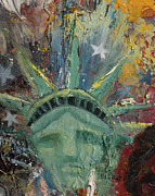 Statue Portrait Paintings - Liberty Breaking Out by Trish Bilich