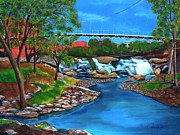 Rivers In The Fall Painting Prints - Liberty Bridge at Falls Park Print by Andrew Wells